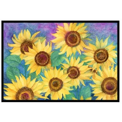 Sunflowers and Purple Doormat Rug Size: 16 x 23