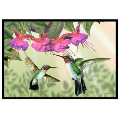 Fuchsia and Hummingbirds Doormat Rug Size: 2 x 3