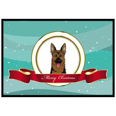 German Shepherd Merry Christmas Doormat Mat Size: 16 x 23