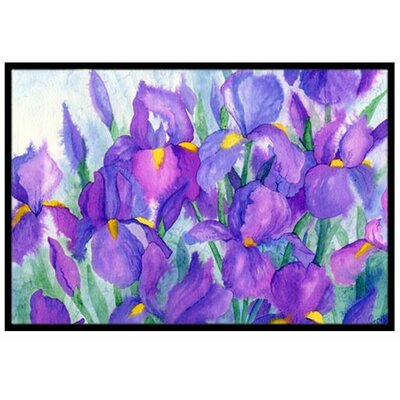 Purple Iris Doormat Mat Size: 2 x 3