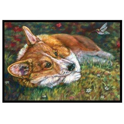 Corgi Pastel Hummingbird Doormat Rug Size: 2' x 3'
