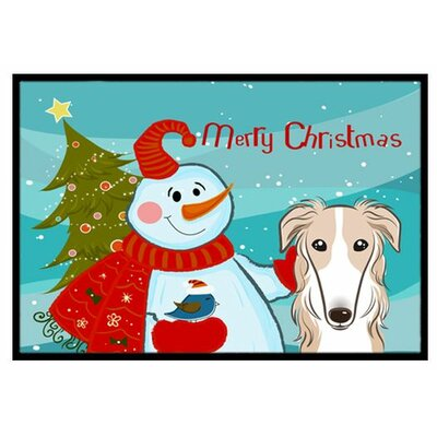 Snowman with Borzoi Doormat Rug Size: 2 x 3