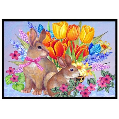 New Beginnings II Easter Rabbit Doormat Rug Size: 2 x 3