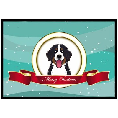Bernese Mountain Dog Merry Christmas Doormat Rug Size: 2 x 3
