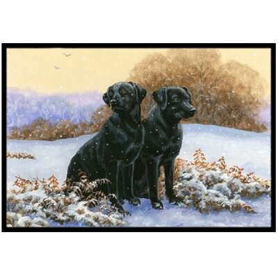Black Labradors in the Snow Doormat Mat Size: 2 x 3