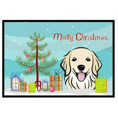 Christmas Tree and Golden Retriever Doormat Mat Size: 2 x 3