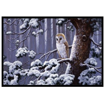 Owl on a Tree Branch in the Snow Doormat Mat Size: 16 x 23