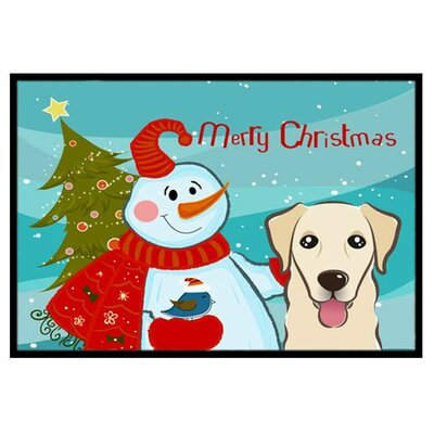 Snowman with Golden Retriever Doormat Mat Size: 2 x 3