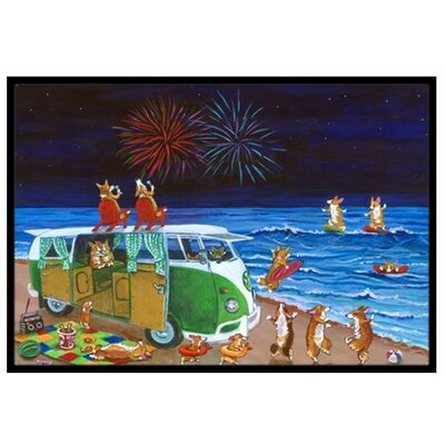 Corgi Beach Party Volkswagen Bus Fireworks Doormat Rug Size: 2' x 3'