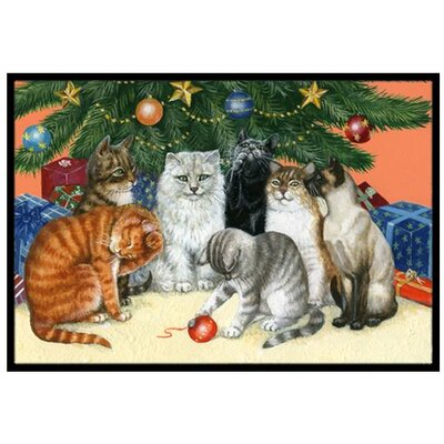 Cats under the Christmas Tree Doormat Mat Size: 16 x 23