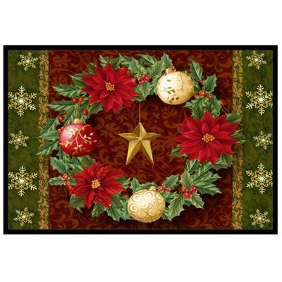 Holly Wreath with Christmas Ornaments Doormat Rug Size: 16 x 23