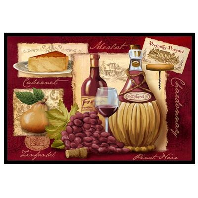 Wine and Cheese Doormat Rug Size: 2 x 3