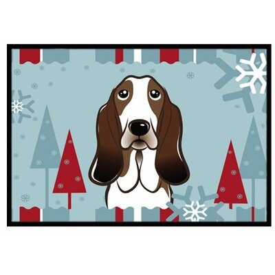 Winter Holiday Basset Hound Doormat Mat Size: 2 x 3