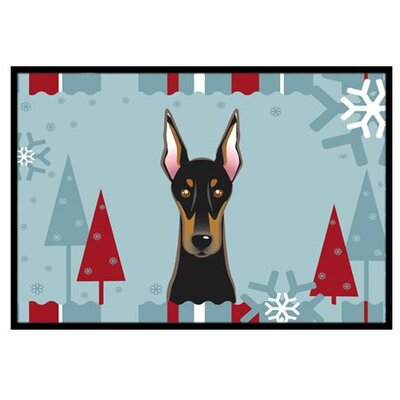 Winter Holiday Doberman Doormat Rug Size: 16 x 23