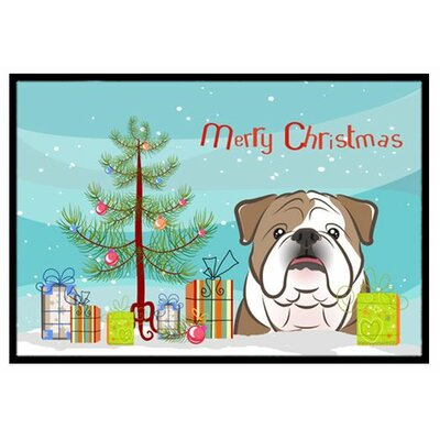 Christmas Tree and English Bulldog Doormat Mat Size: 2 x 3