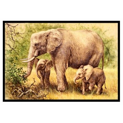 Elephants Doormat Mat Size: 2' x 3'
