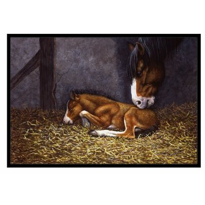 Horse and Her Foal Doormat Rug Size: 2 x 3