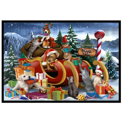 Animals Opening Christmas Presents Doormat Rug Size: 2 x 3