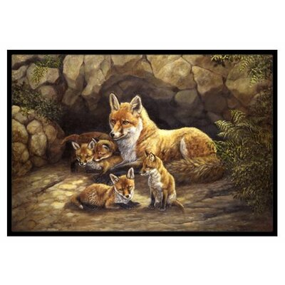 Fox Family Foxes by the Den Doormat Mat Size: 2 x 3