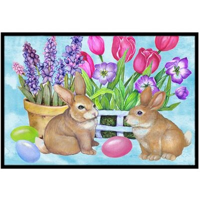 New Beginnings Easter Rabbit Doormat Rug Size: 16 x 23