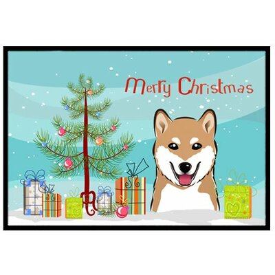 Christmas Tree and Shiba Inu Doormat Rug Size: 2 x 3