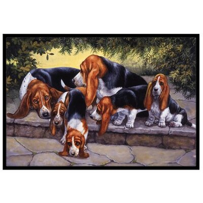 Basset Hound Puppies, Momma and Daddy Doormat Mat Size: 2 x 3