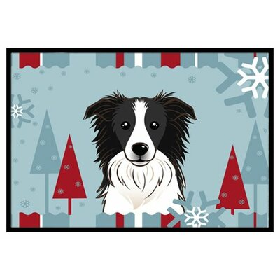 Winter Holiday Border Collie Doormat Mat Size: 16 x 23