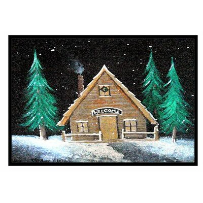 Welcome Lodge Christmas Log Home Doormat Rug Size: 2 x 3