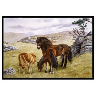 Horses in the Meadow Doormat Mat Size: 2 x 3