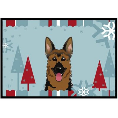 Winter Holiday German Shepherd Doormat Mat Size: 2 x 3