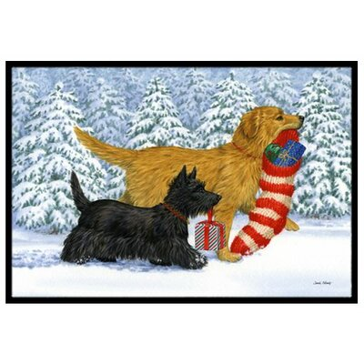 Golden Retriever Keep Up There, Scottie! Doormat Mat Size: 2 x 3