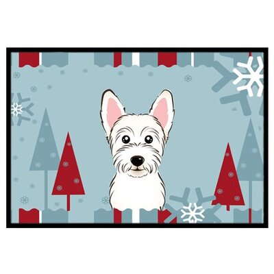 Winter Holiday Westie Doormat Mat Size: 2 x 3