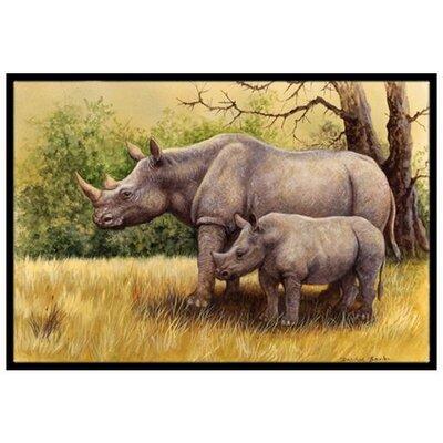 Rhinoceros Doormat Rug Size: 2 x 3