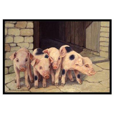 Pigs Piglets Doormat Rug Size: 2 x 3