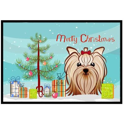 Christmas Tree and Yorkie Yorkshire Terrier Doormat Mat Size: 2 x 3
