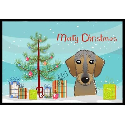 Christmas Tree and Wirehaired Dachshund Doormat Rug Size: 2 x 3