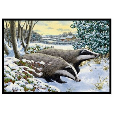 Winter Badgers Doormat Rug Size: 16 x 23