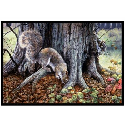 Grey Squirrels around the Tree Doormat Mat Size: 16 x 23