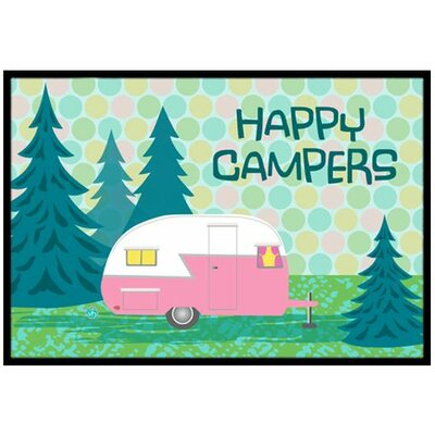 Happy Campers Glamping Trailer Doormat Rug Size: 2 x 3
