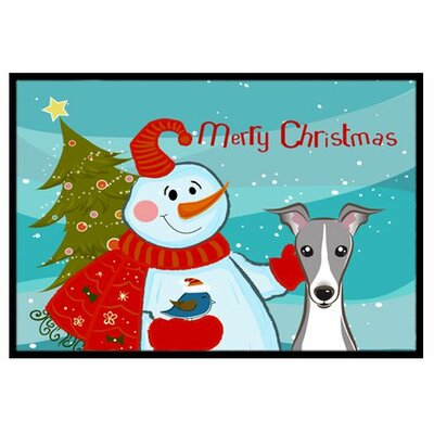 Snowman with Italian Greyhound Doormat Rug Size: 2' x 3'