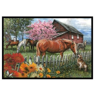 Horses Chatting with the Neighbors Doormat Rug Size: 2 x 3
