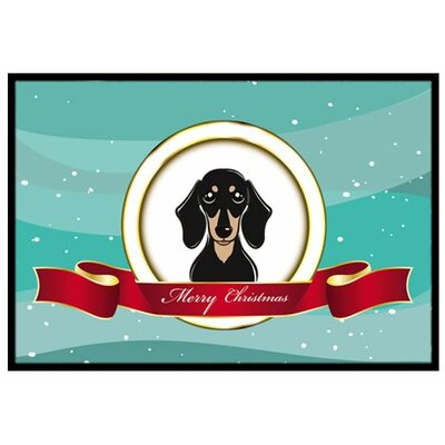 Smooth Black and Tan Dachshund Merry Christmas Doormat Mat Size: 2 x 3