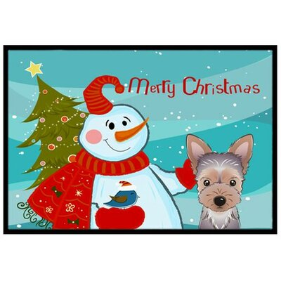Snowman with Yorkie Puppy Doormat Rug Size: 2' x 3'
