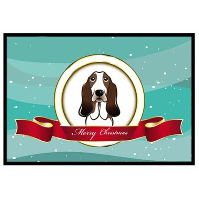 Basset Hound Merry Christmas Doormat Rug Size: 16 x 23
