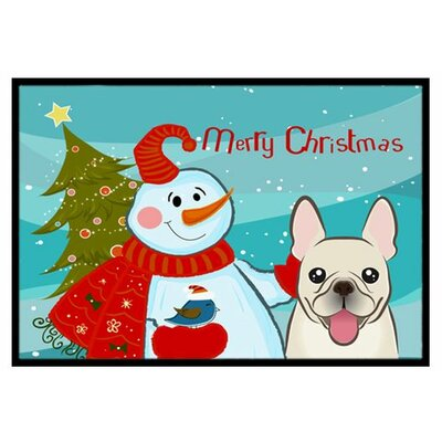 Snowman with French Bulldog Doormat Rug Size: 16 x 23