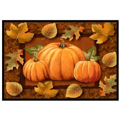 Pumpkins and Fall Leaves Doormat Mat Size: 2 x 3