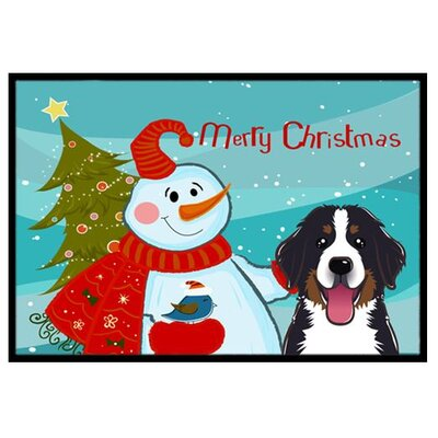 Snowman with Bernese Mountain Dog Doormat Mat Size: 2 x 3