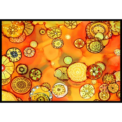 Abstract Flowers Doormat Mat Size: 16 x 23