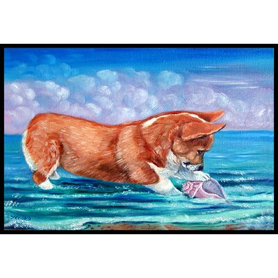 Corgi Sea Shell Find Doormat Rug Size: 16 x 23