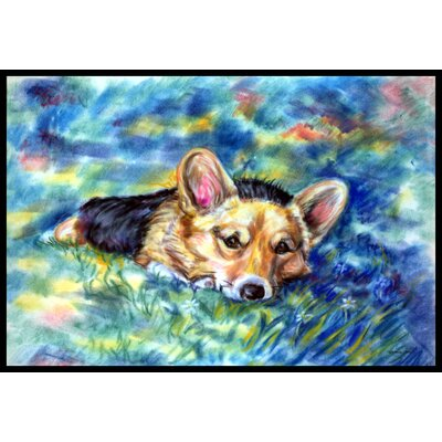 Corgi Tuckered Out Doormat Rug Size: 16 x 23